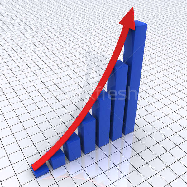 Rising graphic chart of columns and arrow Stock photo © 6kor3dos