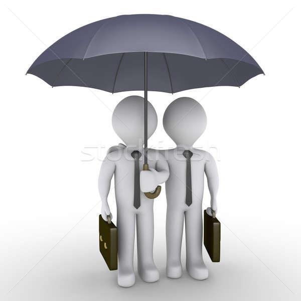 Foto stock: Dos · empresarios · uno · paraguas · 3D