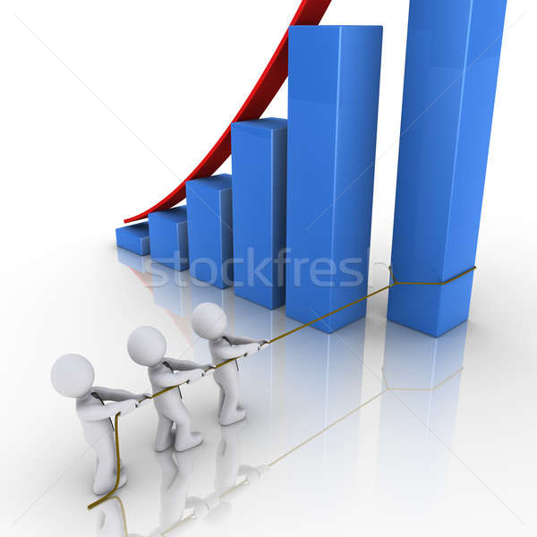 Business team putting in place column of rising graph Stock photo © 6kor3dos