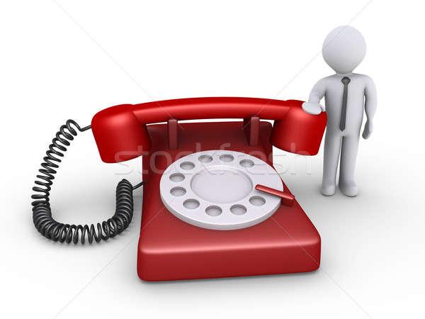 Stok fotoğraf: Işadamı · bekleme · telefon · görüşmesi · 3D · telefon
