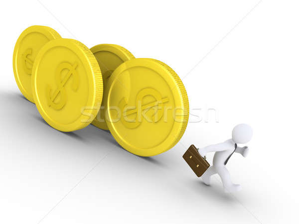 Businessman is chased by coins Stock photo © 6kor3dos