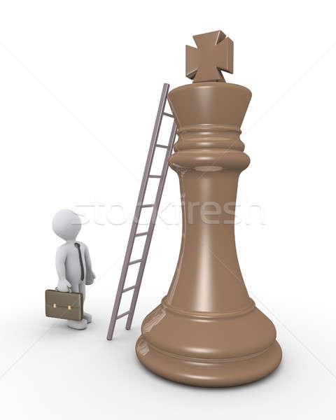 3D empresário alcançar topo rei Foto stock © 6kor3dos