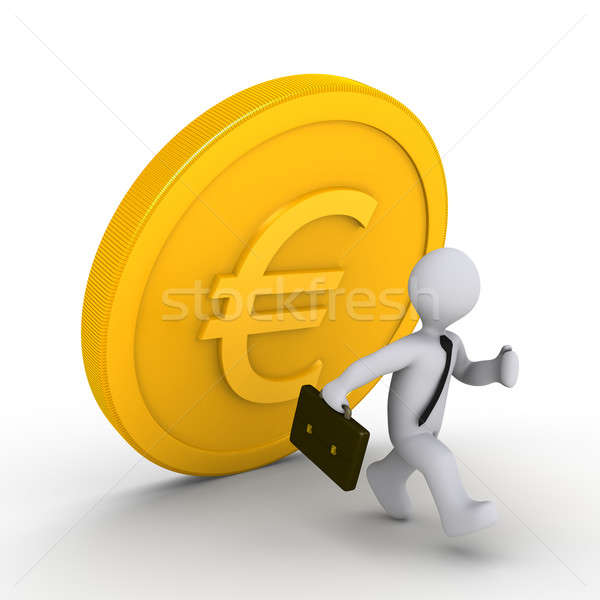 Businessman running away from falling euro coin Stock photo © 6kor3dos