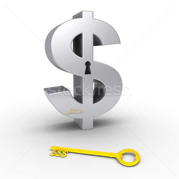 Dollár szimbólum kulcslyuk föld 3D arany Stock fotó © 6kor3dos