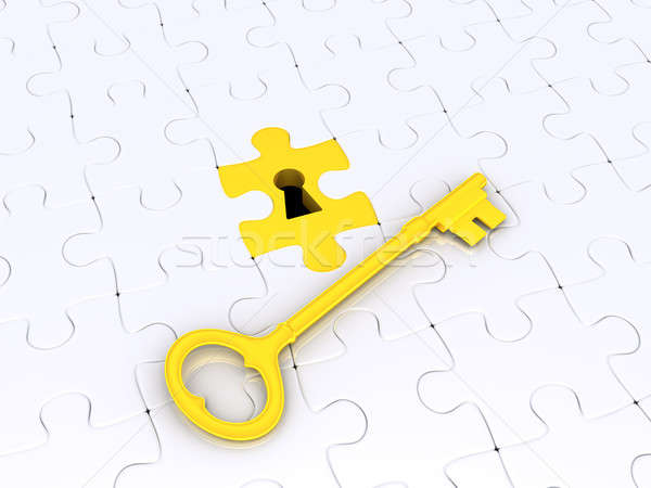 Stock photo: Solution concept with puzzle pieces and key