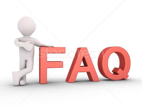 Kişi cevaplar 3d kişi sss harfler Stok fotoğraf © 6kor3dos