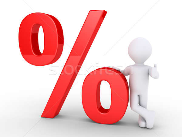 Person leaning on a percent symbol Stock photo © 6kor3dos