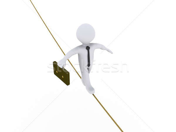Businessman is walking on tightrope Stock photo © 6kor3dos