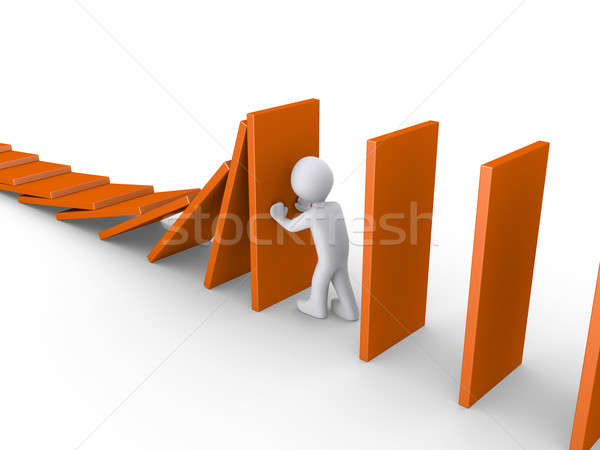 Person stops domino effect Stock photo © 6kor3dos