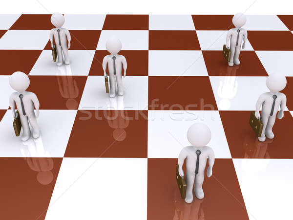 Işadamları satranç tahtası 3D ayakta satranç tahtası iş Stok fotoğraf © 6kor3dos
