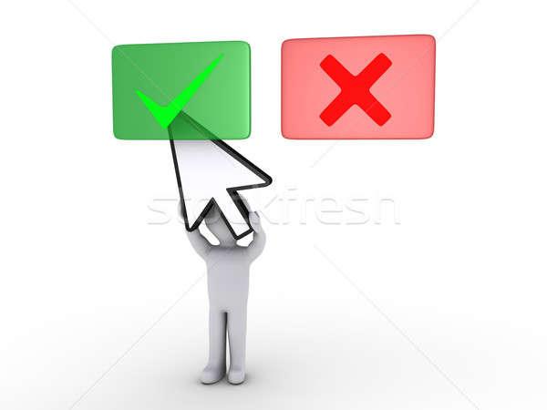 Személy tart kurzor kiválaszt zöld panel Stock fotó © 6kor3dos