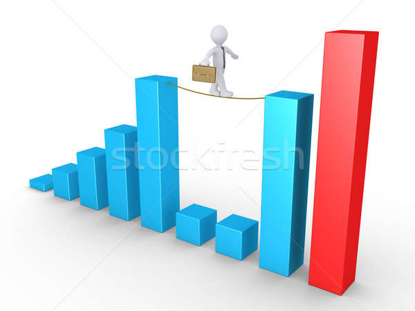 Businessman balancing on columns Stock photo © 6kor3dos