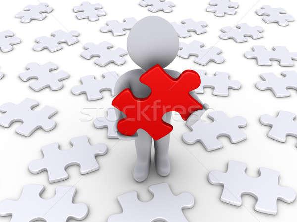 Persona solución 3 ª persona rojo rompecabezas Foto stock © 6kor3dos