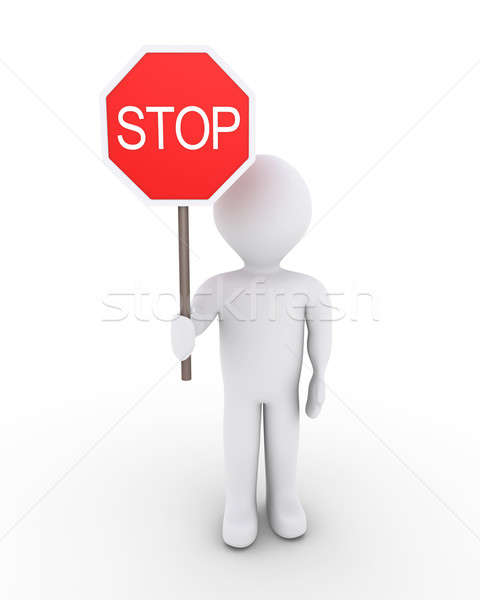 人 方法 3dの人 一時停止の標識 男 ストックフォト © 6kor3dos