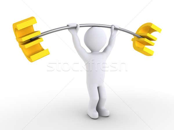 Személy súlyemelés eurók 3d személy emel súlyzó Stock fotó © 6kor3dos