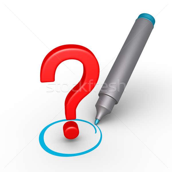 Vraagteken gekozen 3D cirkel teken Blauw Stockfoto © 6kor3dos