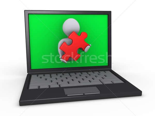 Personne portable puzzle pièce personne 3d Photo stock © 6kor3dos