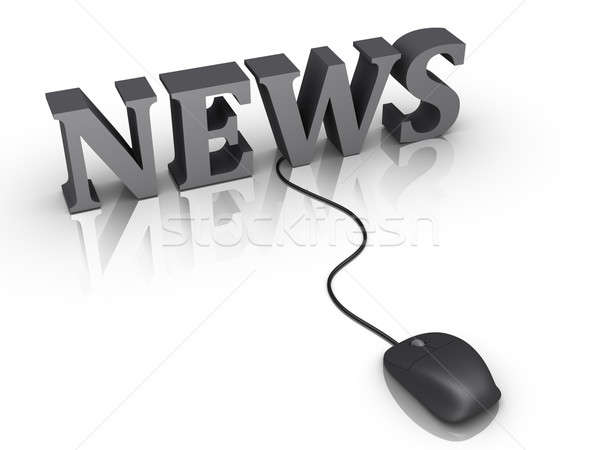 Stock photo: News word and a mouse connected to it