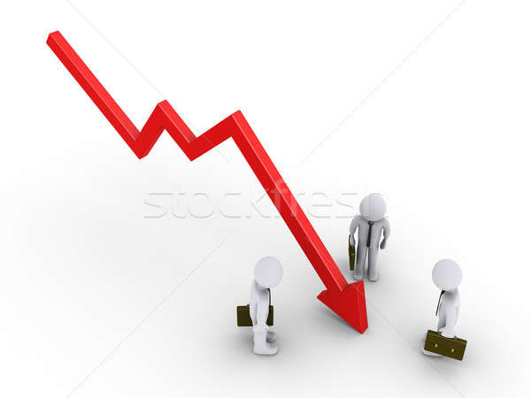 Stock photo: Businessmen are looking at graph going down