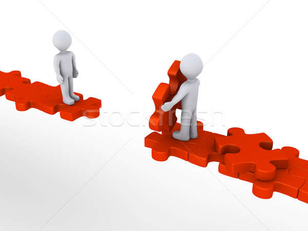 Person offering help to another on puzzle path Stock photo © 6kor3dos