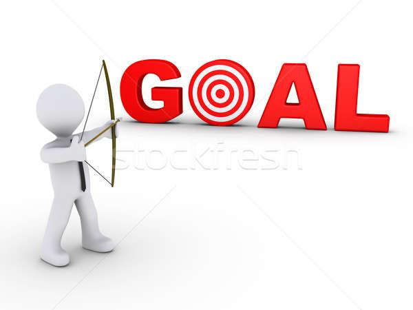 бизнесмен лучник цель целевой 3D красный Сток-фото © 6kor3dos