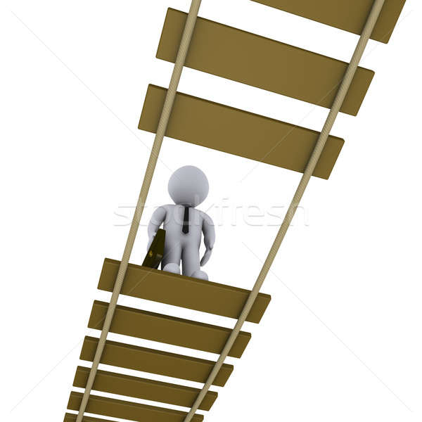 Businessman on damaged bridge looking down Stock photo © 6kor3dos