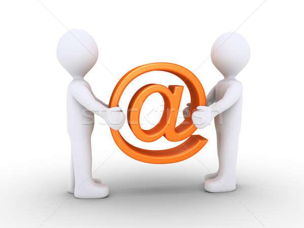 Duas pessoas e-mail símbolo dois 3d pessoas Foto stock © 6kor3dos