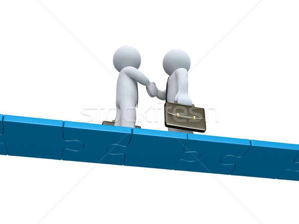 Iki işadamları anlaşma bilmece köprü Stok fotoğraf © 6kor3dos