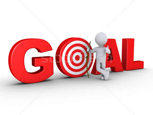 Happy archer showing arrow at center of GOAL - target Stock photo © 6kor3dos