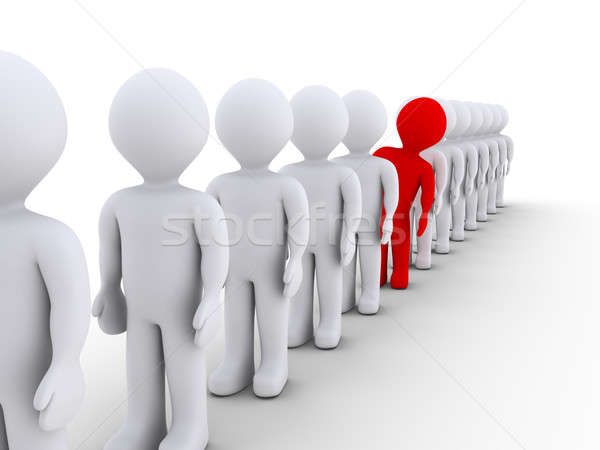Stock photo: People in a row but one is different