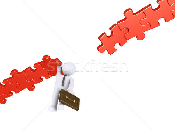 Stock photo: Businessman hanging from damaged path