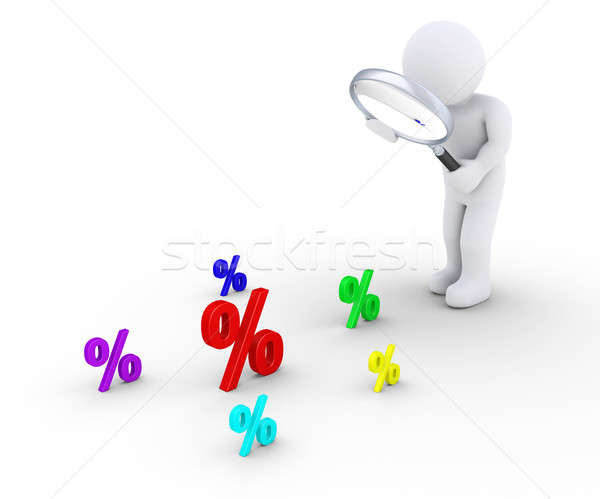 Person with magnifier searching for bigger discount Stock photo © 6kor3dos