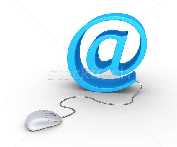 Компьютерная мышь электронная почта 3D символ бизнеса интернет Сток-фото © 6kor3dos