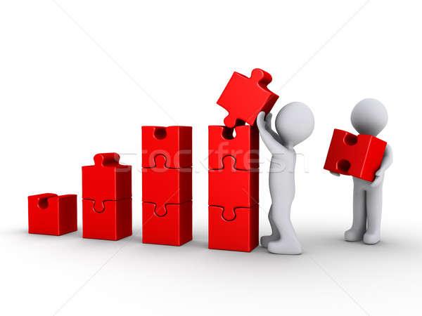 Gebouw grafiek puzzelstukjes twee 3D Stockfoto © 6kor3dos