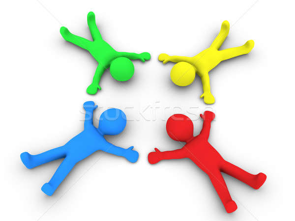 Négy személy föld diverzitás négy különböző színes Stock fotó © 6kor3dos