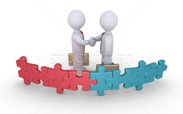 Stock photo: Businessmen agreement of two teams