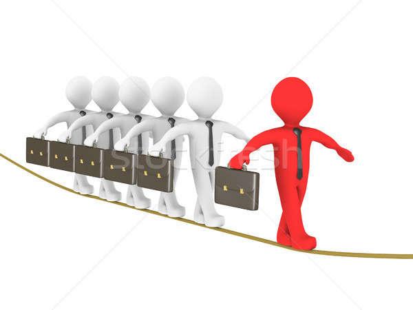 лидера 3D бизнесменов туго натянутый канат Сток-фото © 6kor3dos