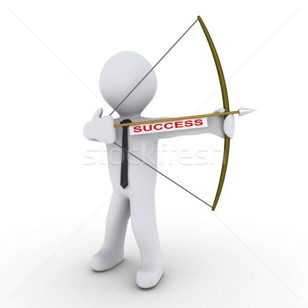 бизнесмен лучник стрелка успех тег 3D Сток-фото © 6kor3dos