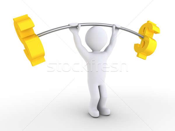 Persoon gewichtheffen dollar 3d persoon Stockfoto © 6kor3dos