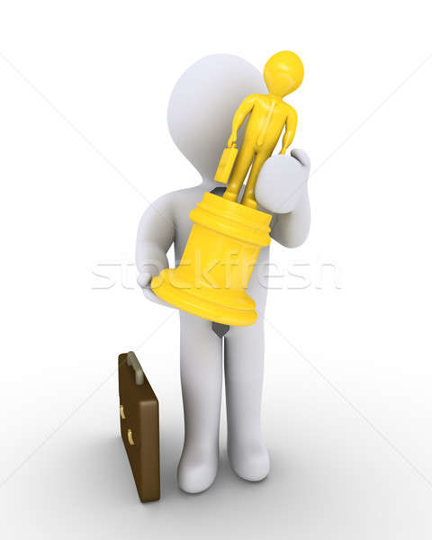 ビジネスマン トロフィー 勝者 3D 像 ストックフォト © 6kor3dos