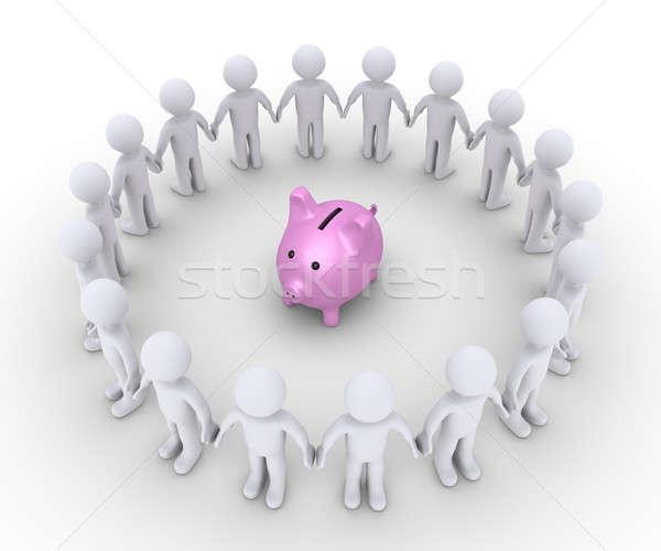 豚 お金 ボックス 人 周りに 3D ストックフォト © 6kor3dos