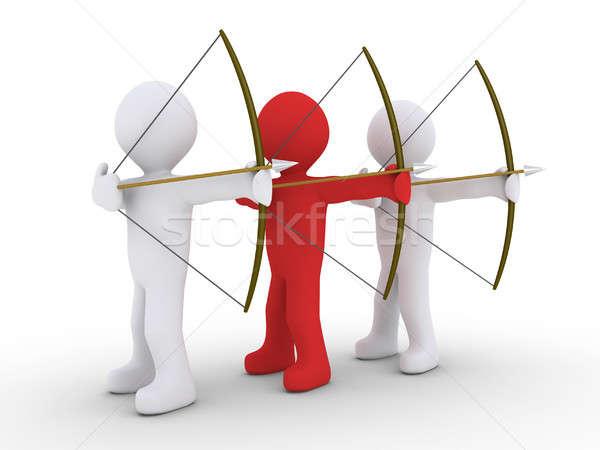три один лидера 3D красный лучник Сток-фото © 6kor3dos