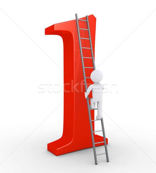 Személy mászik felső legelső 3d személy létra Stock fotó © 6kor3dos