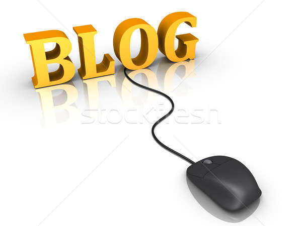 Stock photo: Blog word and a mouse connected to it