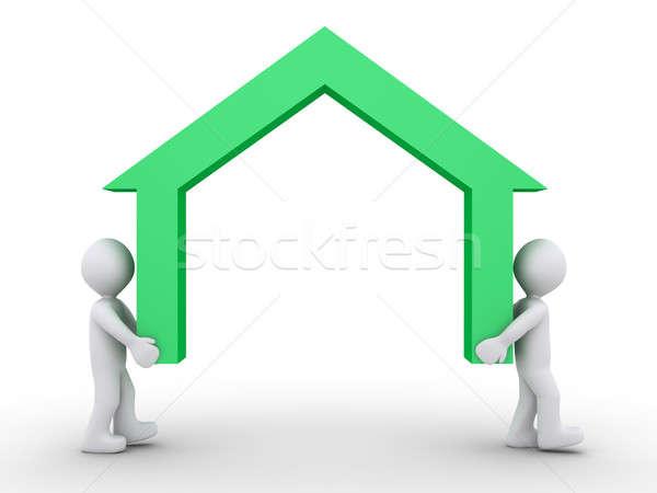 ホーム 仕事 2 3次元の人々 家 ストックフォト © 6kor3dos