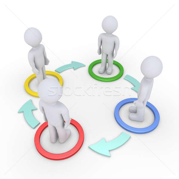 Interacción personas cuatro personas dentro círculos flechas Foto stock © 6kor3dos