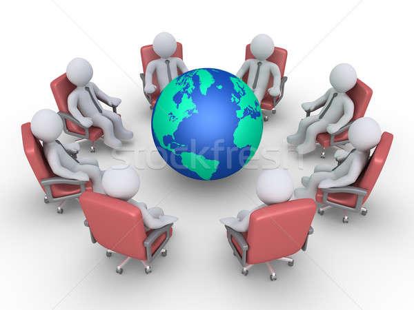 Işadamları toplantı etrafında toprak oturma daire Stok fotoğraf © 6kor3dos