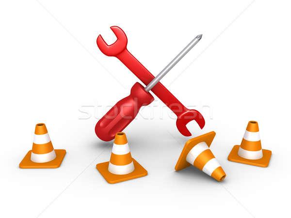 Repair tools behind traffic cones Stock photo © 6kor3dos