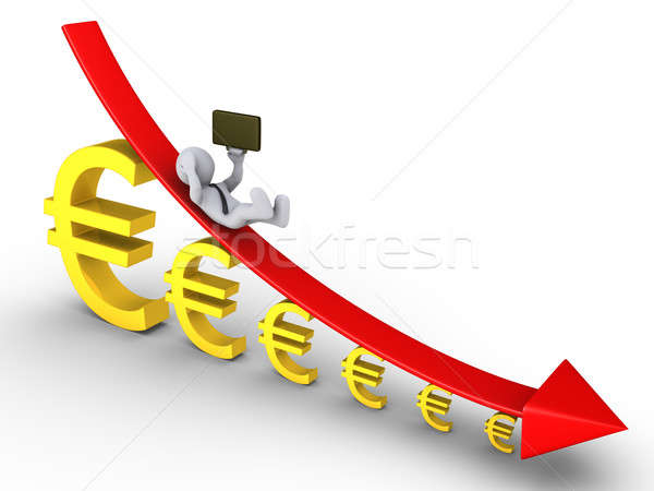 Businessman falling from descending graph and euros get smaller Stock photo © 6kor3dos
