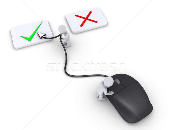 Two persons select right choice using mouse Stock photo © 6kor3dos